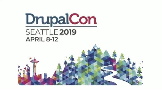 Drupalcon Seattle 2019 logo with a guitar and text on it