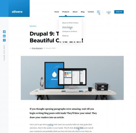 blue and white webpage displaying the theme Olivero