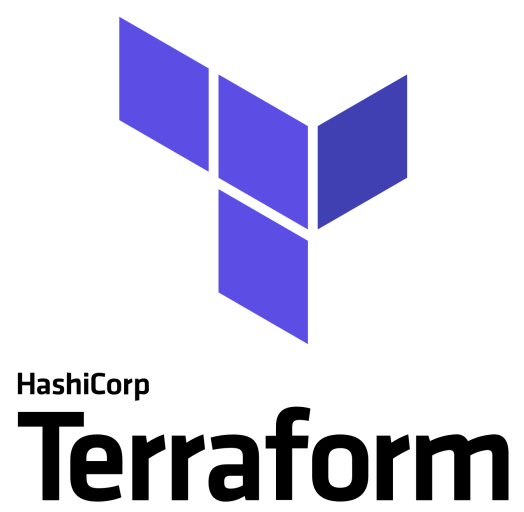 Logo of Terraform with Capital T formed by violet parallelograms and Hashi Terraform written below it