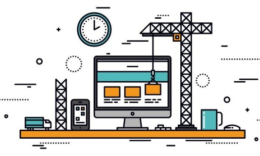 Image of a computer screen where a crane is placing a square block on its screen. On the left side there is an image of a truck and a mobile phone, on right there is an image of a cup and a mouse