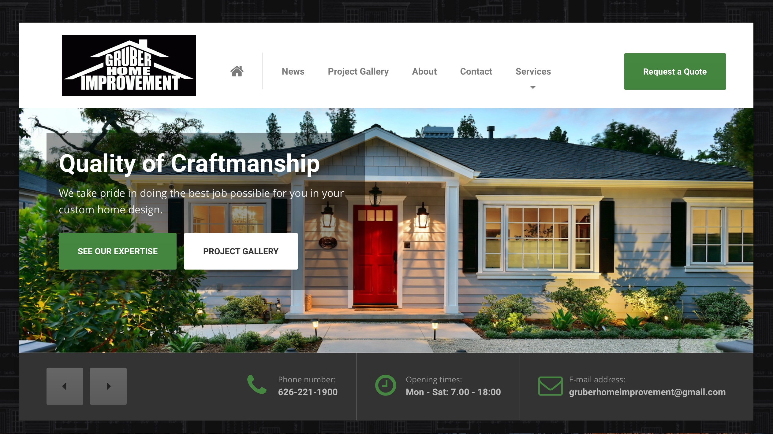 Redesign of gruber home improvement open skies design - Best home improvement website design ...