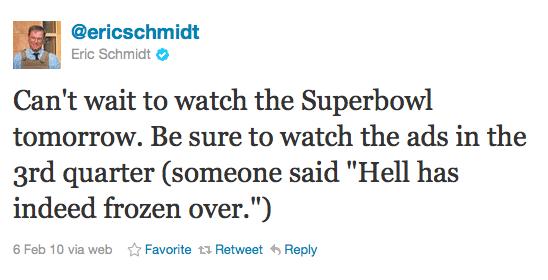 Eric Schmidt hell frozen over