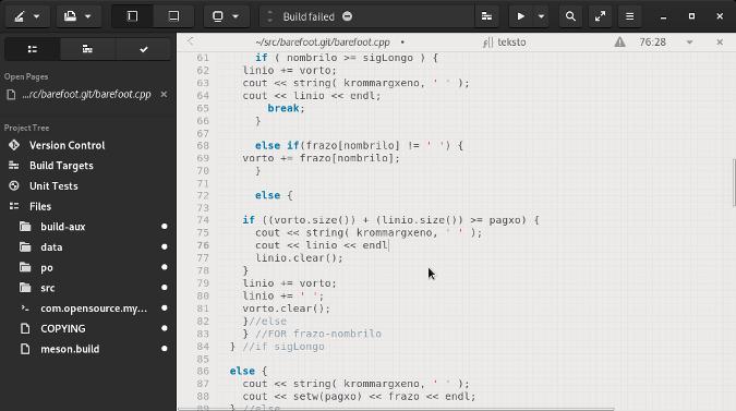 Captura de pantalla de GNOME Builder