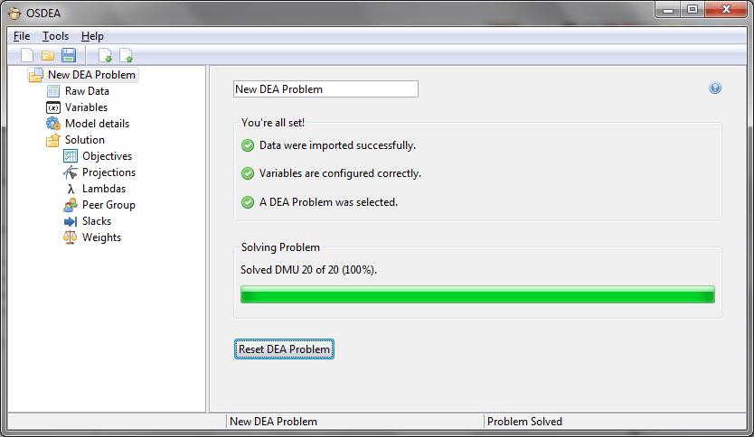 Open Source DEA / OSDEA - problem solved