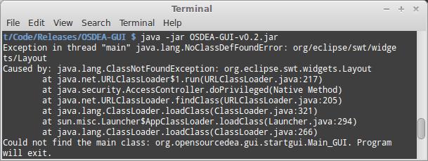 Open Source DEA / OSDEA - Troubleshoot now SWT Library