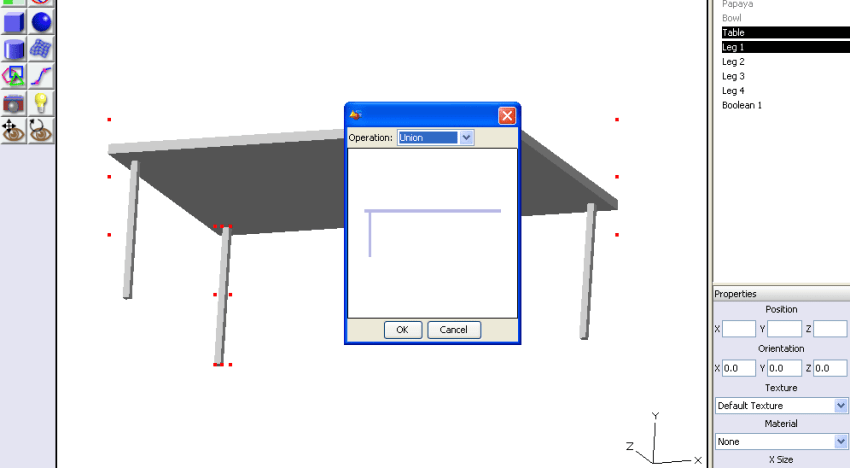 Figure 13: Boolean operation on the table