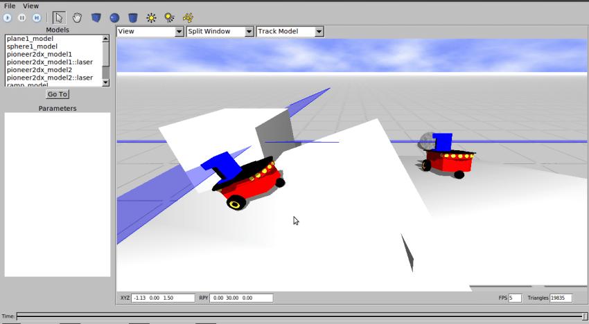 Figure 5: Two pioneer robots in Gazebo