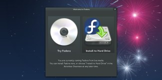 Choice between trying Fedora or installing to hard disk right after live CD bootup