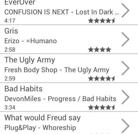 The current radio station playlist