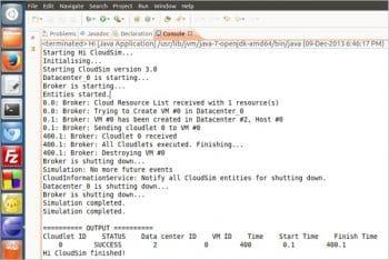 Figure 1 CloudSim live simulation