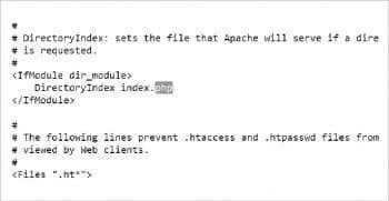 Figure 3 Change in DirectoryIndex