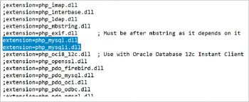 Figure 8 Uncommenting mysql modules
