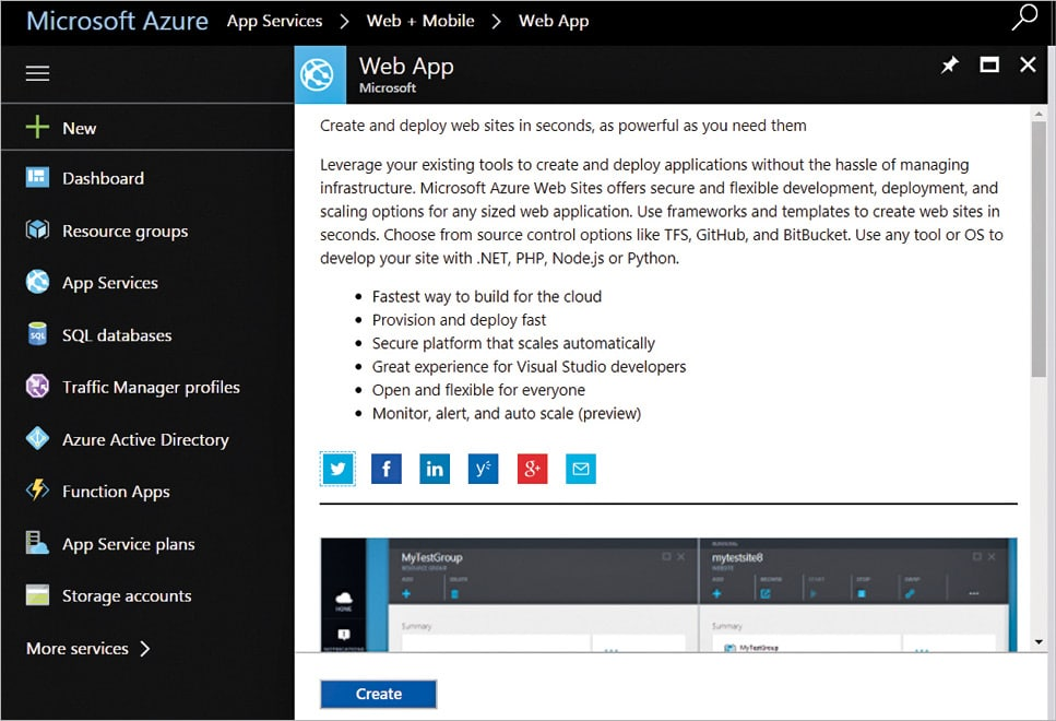 Creating a Web Application Using Azure App Services - open