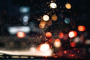 Rain at Night with Lights