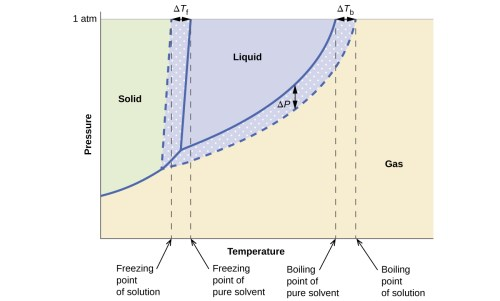 small resolution of this phase diagram indicates the pressure in atmospheres of water and a solution at various temperatures