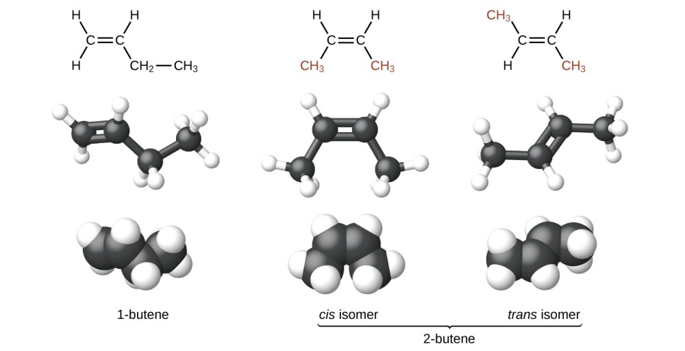 medium resolution of the figure illustrates three ways to represent isomers of butene in the first row of