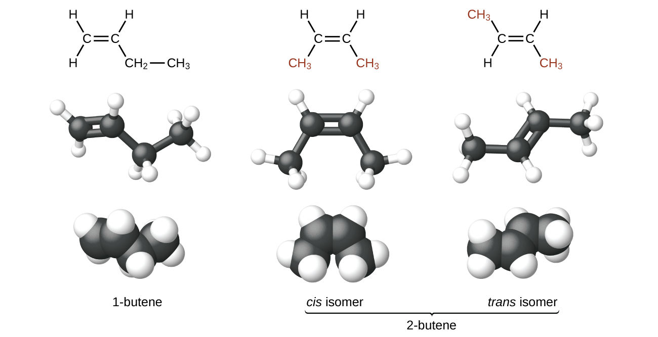 hight resolution of the figure illustrates three ways to represent isomers of butene in the first row of