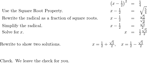 Solve Quadratic Equations Using the Square Root Property