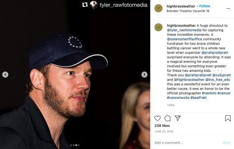 A screenshot of Instagram depicting actor Chris Pratt in a hat bearing the 13 stars of the Betsy Ross flag.