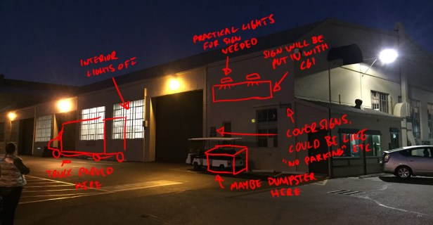 David's notes for the exterior shot