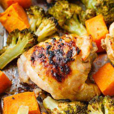 Sheet Pan Chicken Thighs with Sweet Potato and Broccoli