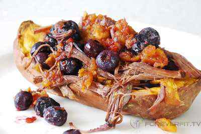 Beef and Blueberry Stuffed Sweet Potato