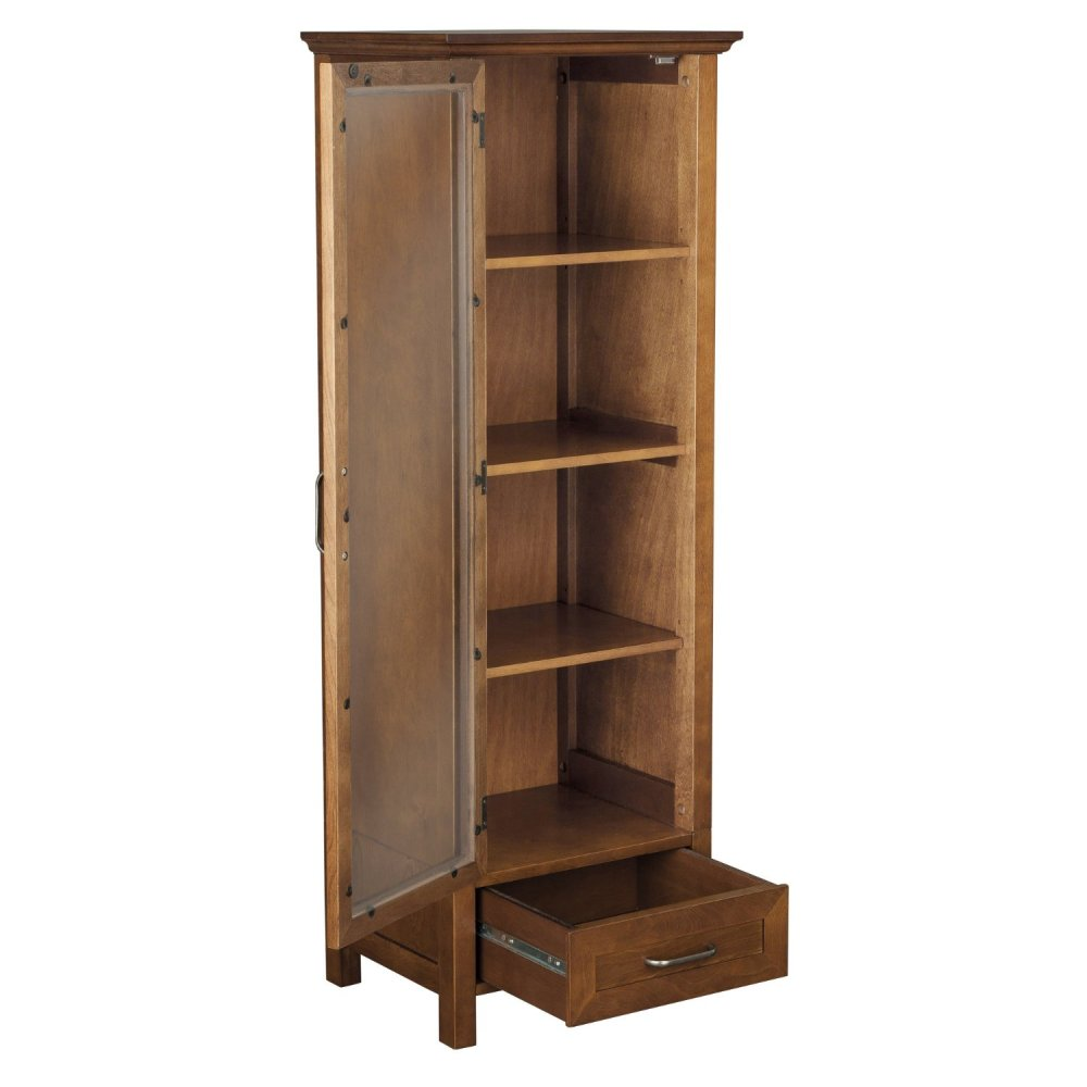 medium resolution of furniture bathroom home design decoration simplistic wooden materials with single door and drawer ideas corner linen cabinet with variations in shape of