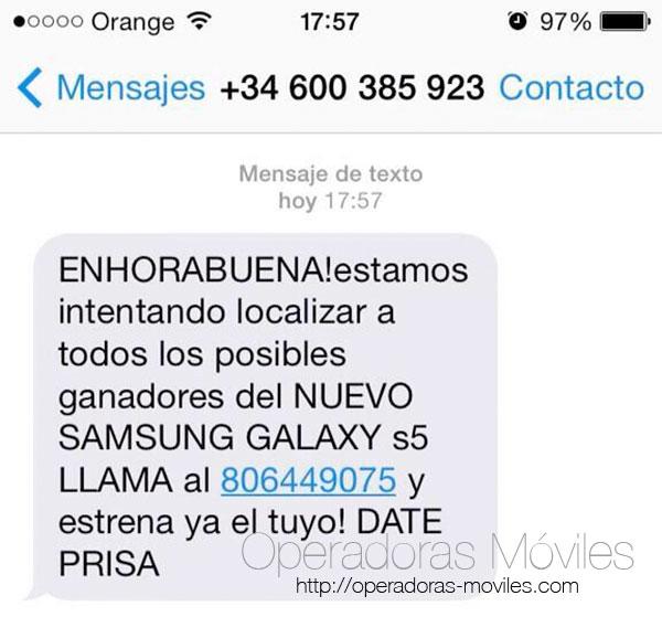 Nuevas estafas por SMS con el Samsung Galaxy S5: 806449075