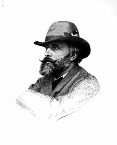 F. Di Bartolo: ritratto del pittore Stefano Ussi, acquaforte