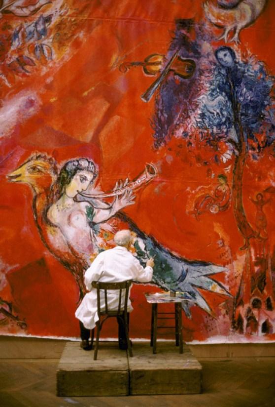 Maquette définitive pour la peinture murale du Metropolitan Opera, Lincoln Art Center, New York : Le Triomphe de la musique(détail), 1966 Tempera, gouache et collage sur papier marouflé sur papier coréen Collection particulière © ADAGP, Paris, 2015 – CHAGALL ®