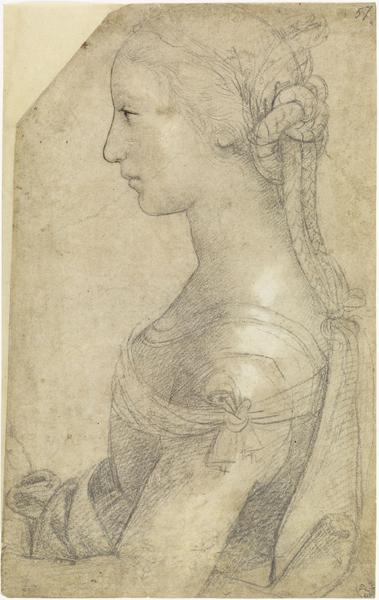 Raffaello Sanzio, Busto di giovane donna di profilo - Pietra nera, penna e inchiostro, biacca (carbonato basico di piombo), carta - Firenze, Gabinetto Disegni e Stampe degli Uffizi