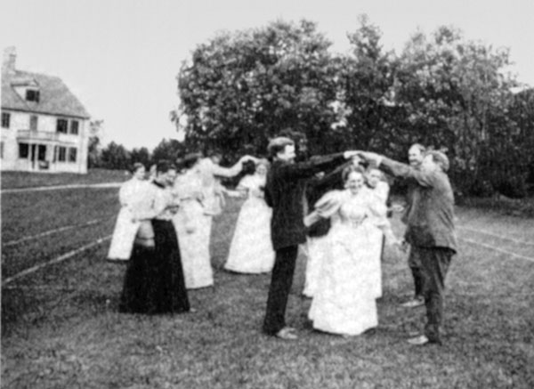 The Beaman family dance on the tennis lawn, September 15, 1895.