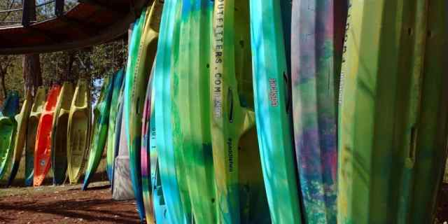vertically stored kayaks from fort wayne outfitters