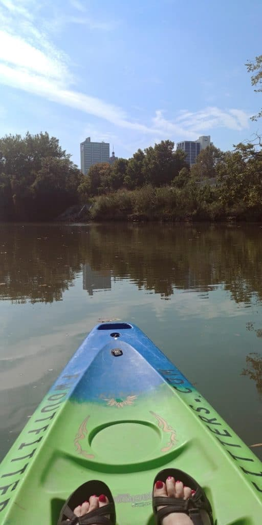 kayaking on St Marys RIver with fort wayne outfitters