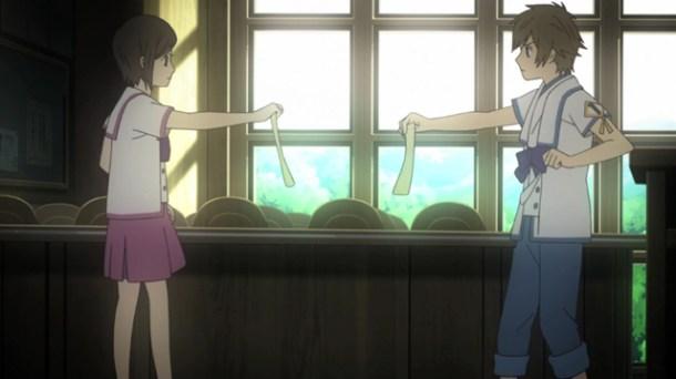 Shin Sekai Yori - Saki and Satoru at school.