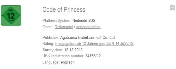 Code of Princess German Rated