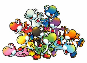 A gaggle of Yoshis