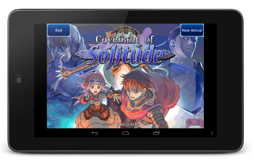 Covenant of Solitude—Title screen in device