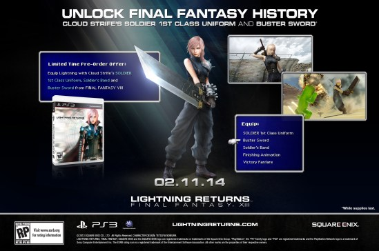 Lightning Returns Final Fantasy 13 Cloud Strife Preorder DLC - oprainfall