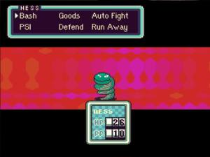 EarthBound - Fighting a Coil Snake