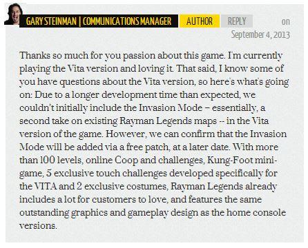 Rayman Legends Response