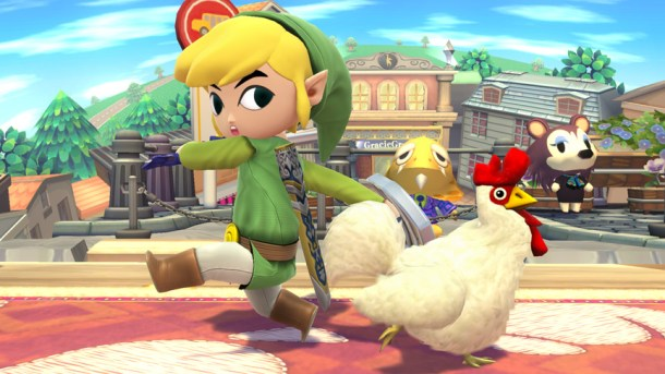 Toon Link and a Cuccu at Animal Crossing Stage - Smashing Saturdays   oprainfall