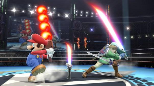 Mario with Fire Bar vs. Link with Beam Sword - Smashing Saturdays | oprainfall