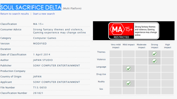 Soul Sacrifice Delta - OFLC Rating | oprainfall