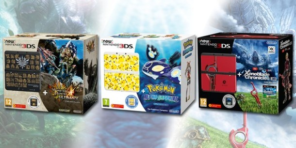 New Nintendo 3DS Bundles - Monster Hunter 4 Ultimate, Pokemon Alpha Sapphire, and Xenoblade Chronicles 3D