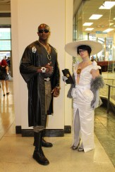 Rodin (Epimetheus Cosplay) and Bayonetta (Breakers Cosplay) in her classy shopping gown. (both costumes were made by Breakers)