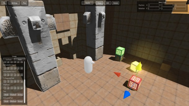 Qbeh-1: The Atlus Cube's new built-in level editor in action.