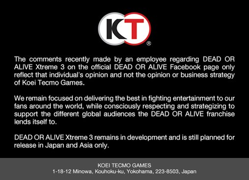 Official Statement | Koei Tecmo Europe