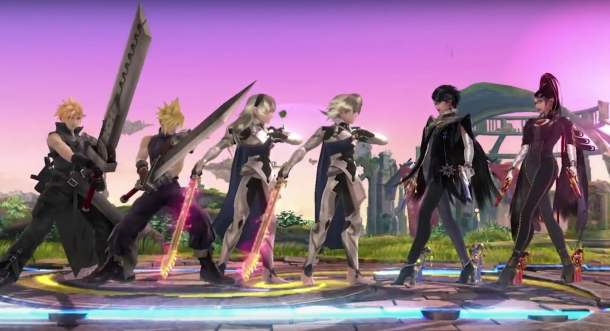 Cloud, Corrin, and Bayonetta
