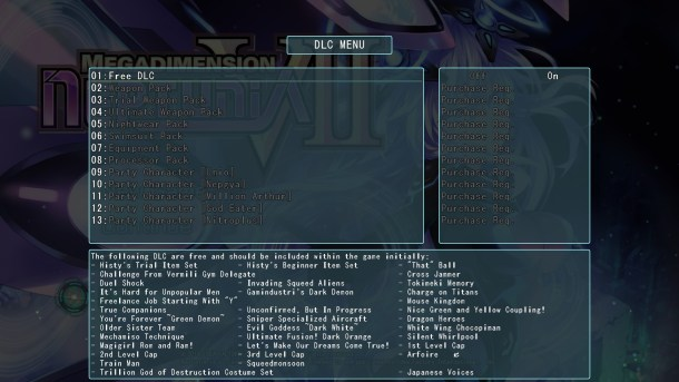 Megadimension Neptunia V-II | DLC Menu